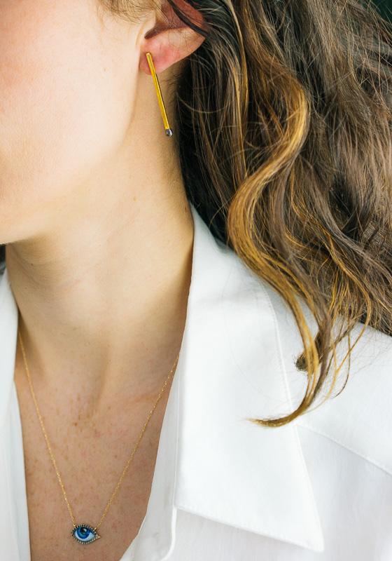 gold matchstick earring