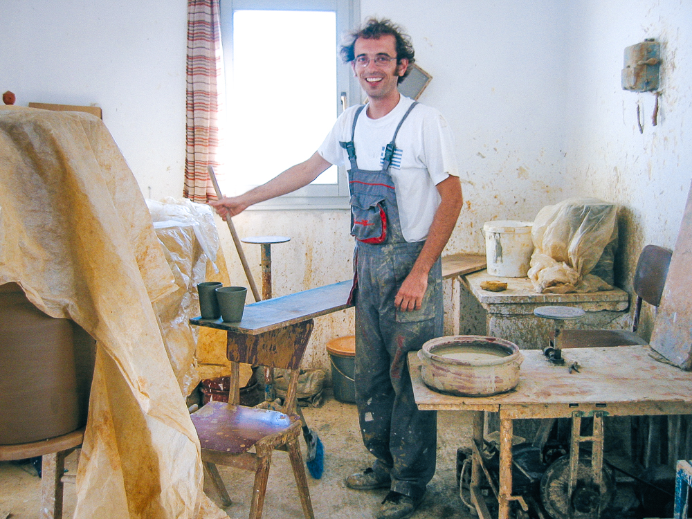 Nikos Lembesis works alongside his father, Yiannis at the wheel producing the same ceramics that his father, and grandfather made.