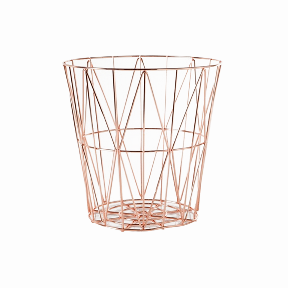 Waste Basket rose gold waste basket — medina design house