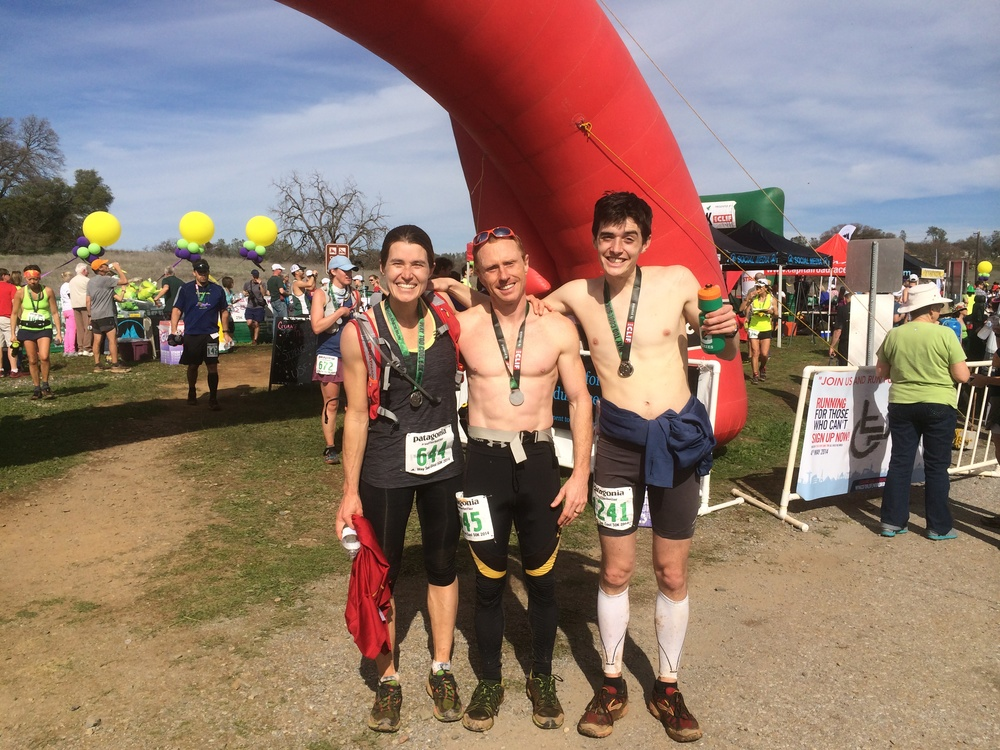 The three of us at the finish line of the Way Too Cool 50k. It took Brooke and Neil about 5hrs 35min. It took me 6hrs 5min.