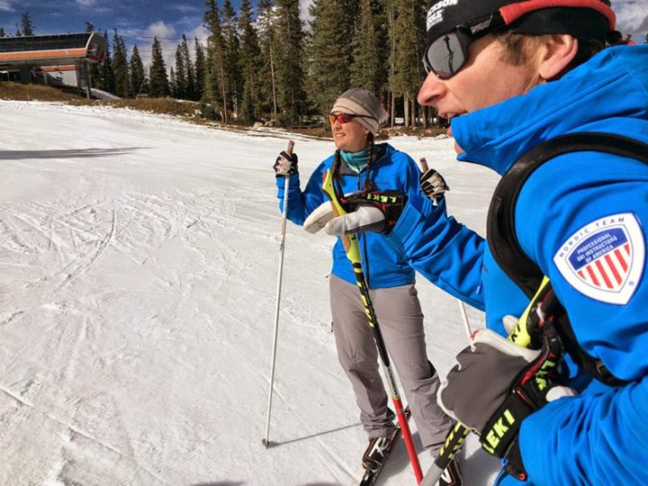 Scotty McGee and Megan Spurkland at 12,000 feet, Cooper Mountain, CO. PSIA Team Training 2014.