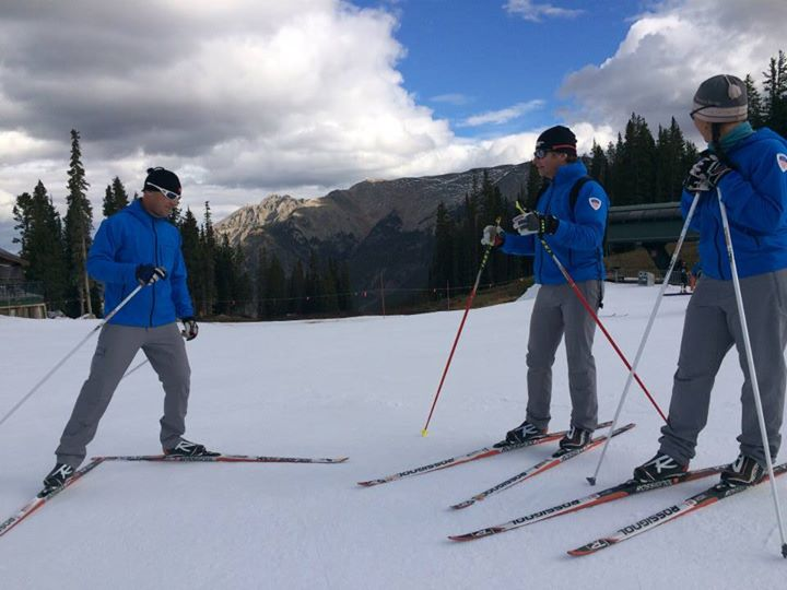 Discussing how to divide skiers into groups at our next clinic.