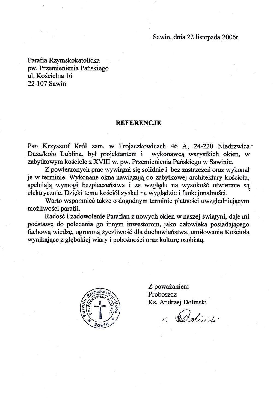 Referencje_Sawin_parafia_Przemienienia_Pańskiego