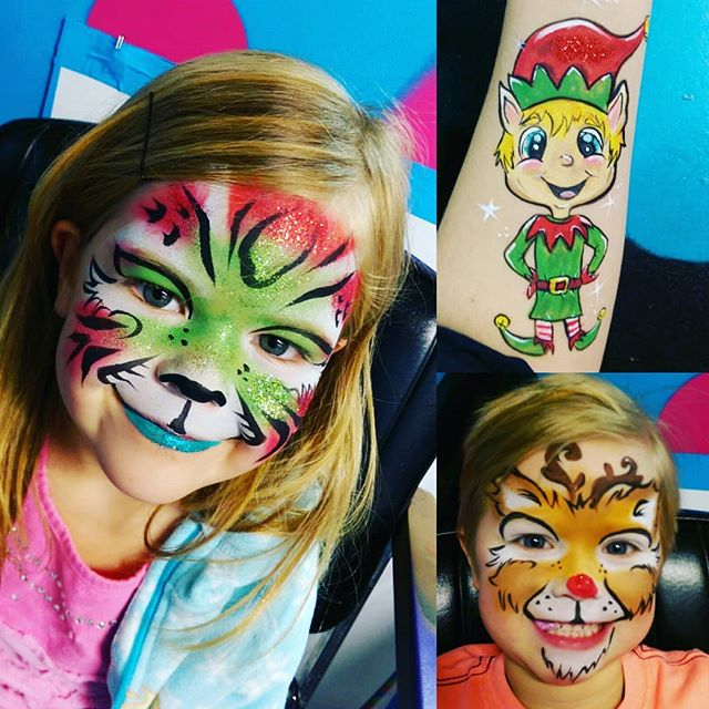 Check out these #festive face paints we did today! It was a great last day for the #market (reopening Jan 4)! #rudolph #facepainting #elf #Christmas #kids #fun #yyc #art #glitter #red #green #local #cute #tiger #stripes #holidays