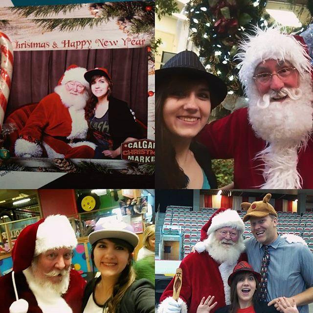 Managed to get 4 pictures with #Santa this year! #success #goals #selfie #cute #nevergrowingup #red #white #beardgoals #Christmas #festive #fun #yyc #market #entertainerlife #hats #santaselfie #reindeer #mustachegoals #getyourmerryon #tistheseason #jolly #hohoho
