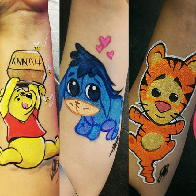 Just playing around with different styles of Pooh characters for the new movie! . . #playingwithpooh #armpainting #facepainting #yyc #pooh #eeyore #tigger #tiger #donkey #bear #christopherrobin #fun #downtime #nostalgia #yyckids #cute #hunny #Winnie #winniethepooh #yellow #red #orange #blue #bees #hearts #stripes