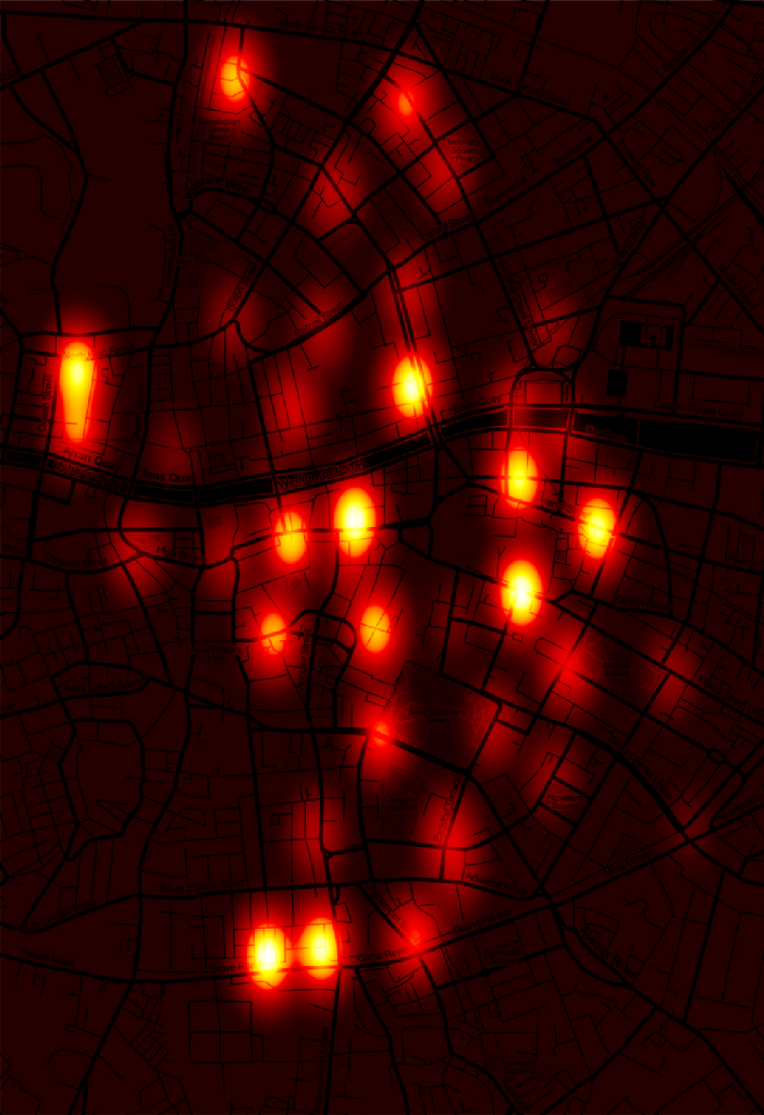 Heat map showing the concentration of public Dublin Bikes across Dublin city centre