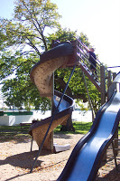 The tallest park slide I have ever seen, found in Detroit Lakes, Minnesota.