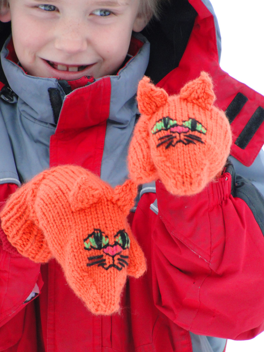 Cute, Cuddly Critter Mittens - Cat