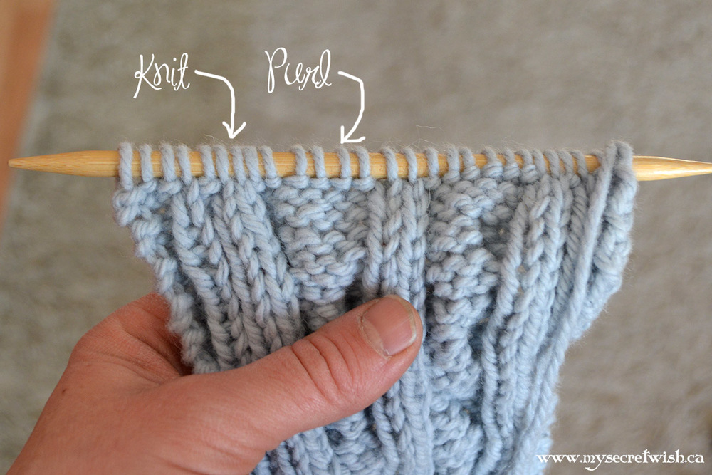 Knits and purls both look the same on the needle.