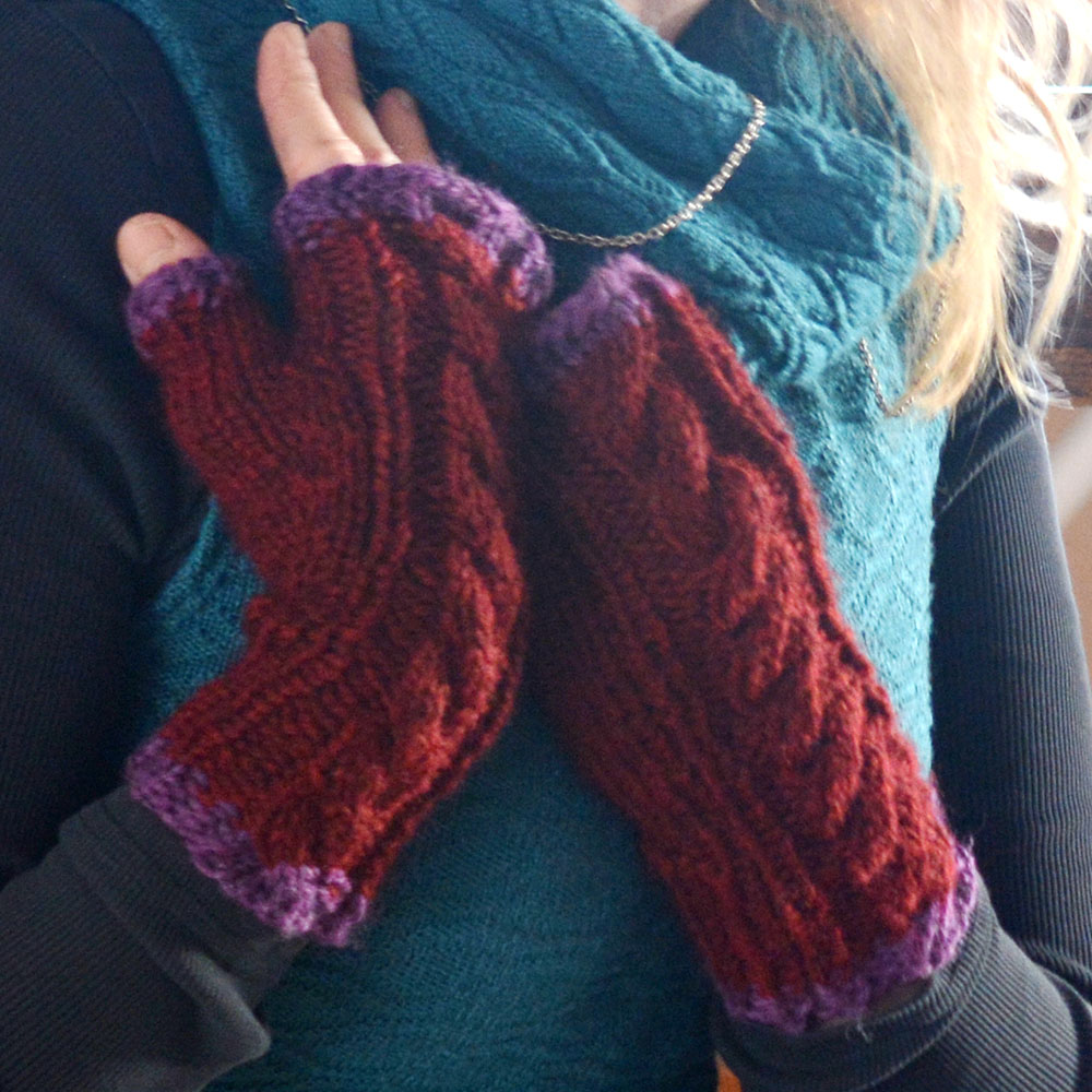 Cabled Fingerless Mittens in 2 lengths