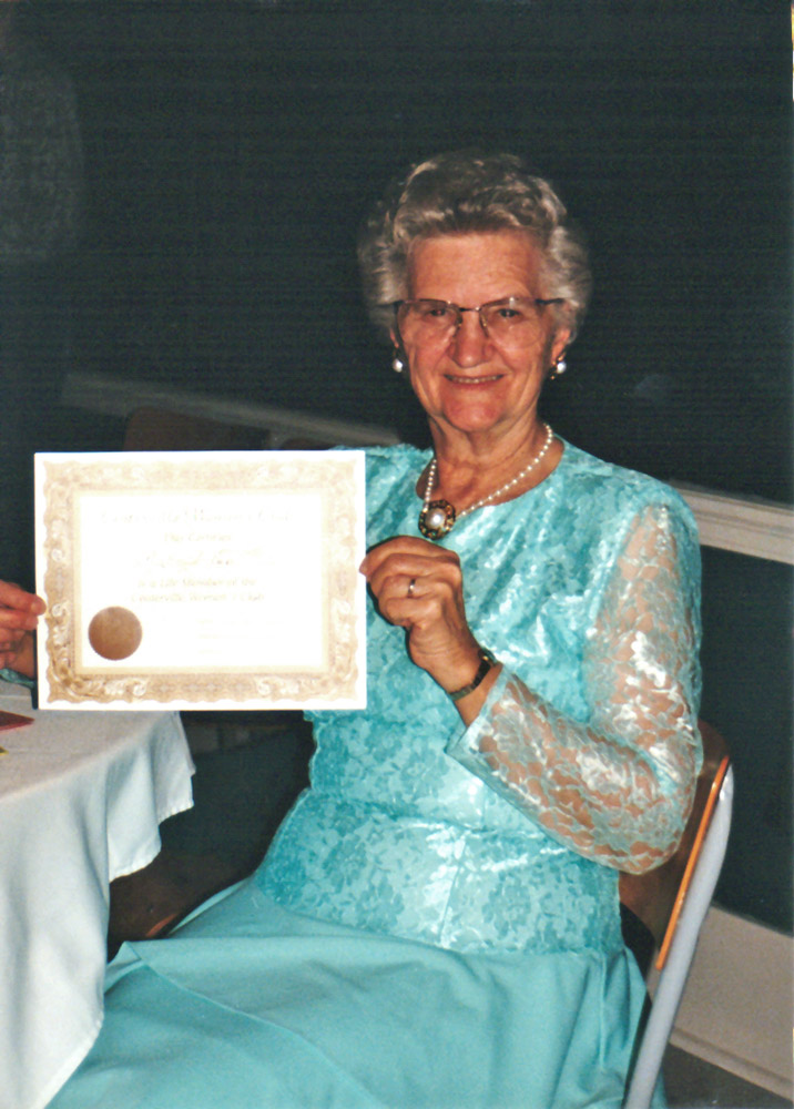 Grandma receiving a lifetime membership in her local women's club.