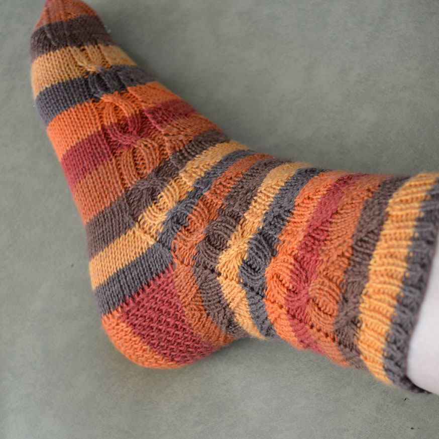 Cable up the side, Jill and the Bean Socks pattern