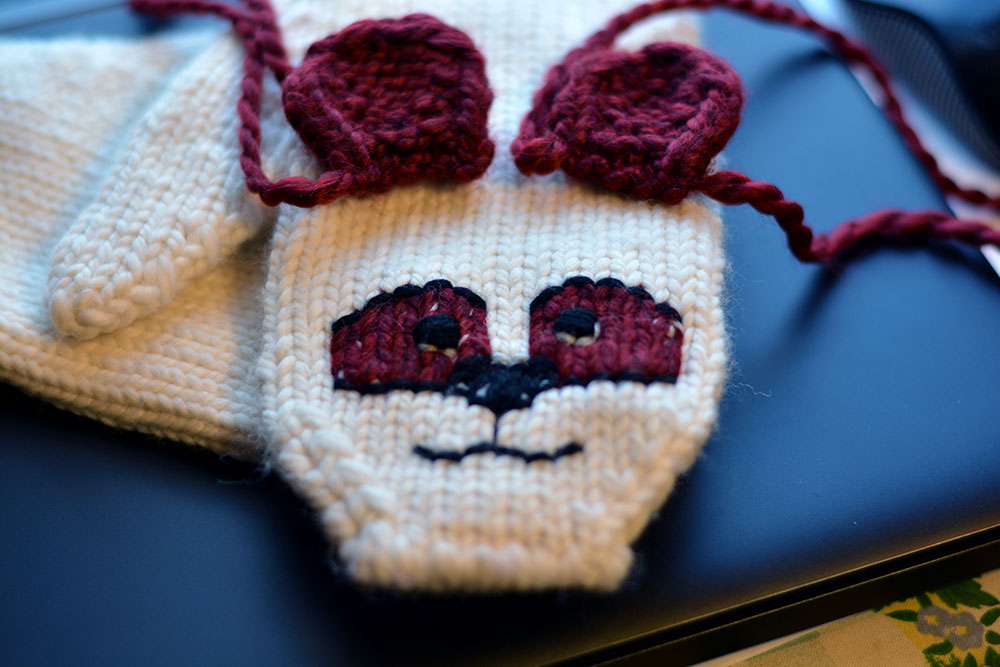 Cute, Cuddly Critter Mittens - Burgundy Panda in progress