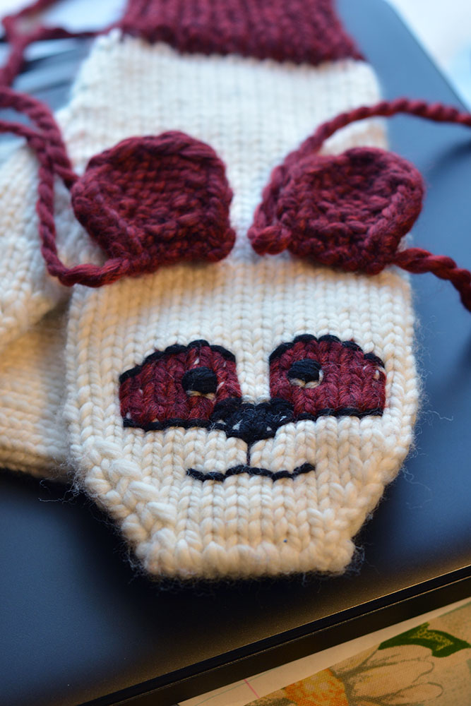 Cute, Cuddly Mitten Pattern - Burgundy Panda in progress