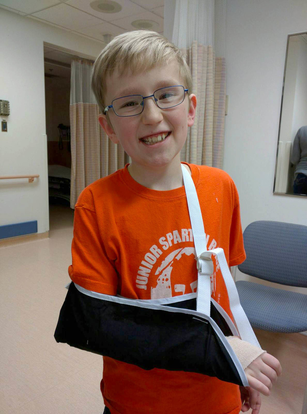 Jabin smiling in Emergency after getting his wrist X-Rayed and wrapped. I'm not sure who this was harder on--me or him. I managed to hold it together during the entire crisis, though, so Yay! me. February 15, 2016