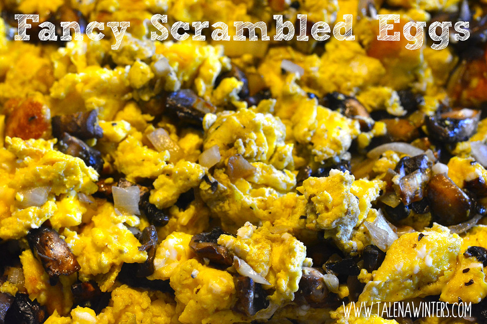 Easy and delicious scrambled eggs with mushrooms and caramelized onions.