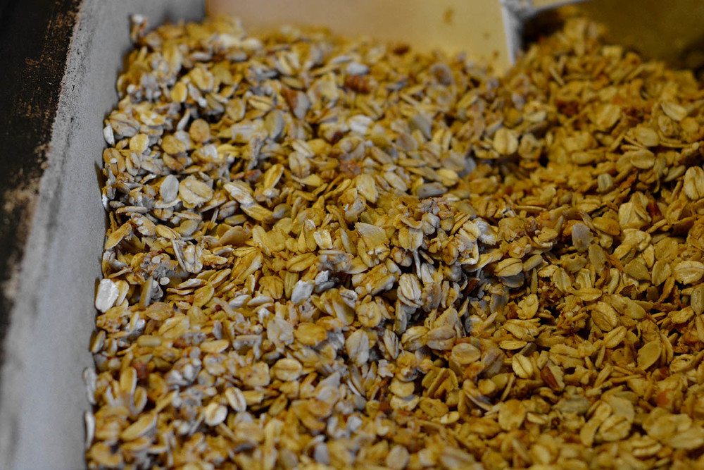 Fresh and warm granola from the oven... yum!