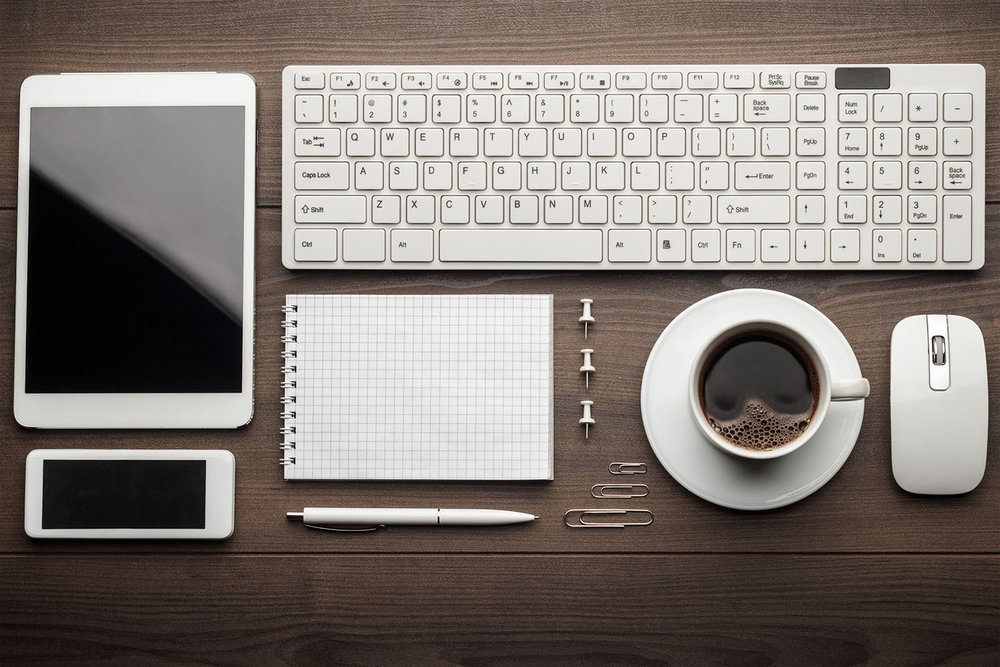 All the note-taking tools I ever need again. Except the pins and paperclips. But especially the coffee. (A pad of paper is handy sometimes, I guess.) Image copyright  garloon / 123RF Stock Photo .
