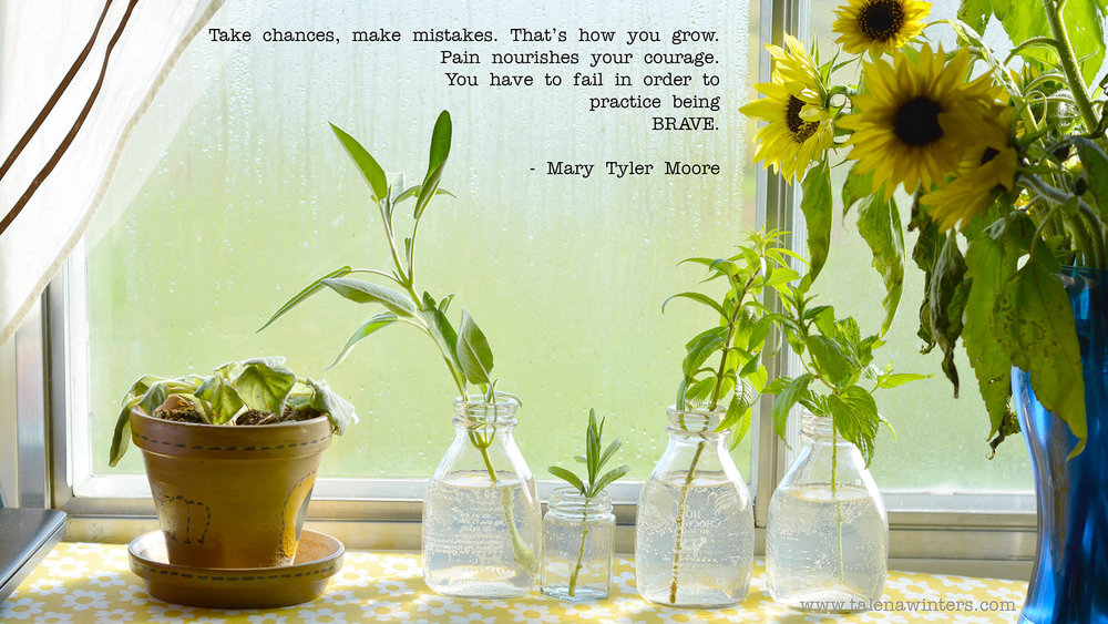 """Take chances, make mistakes. That's how you grow. Pain nourishes your courage. You have to fail in order to practice being brave."" - Mary Tyler Moore. Desktop wallpaper, 1920x1080 resolution. Find more free inspirational desktop wallpapers at www.talenawinters.com/desktop-wallpapers."