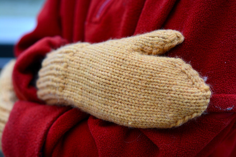 Bulky weight Just Plain Mittens in the Child size.