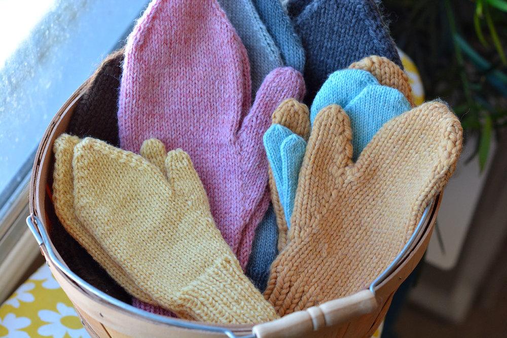 Basket of mittens