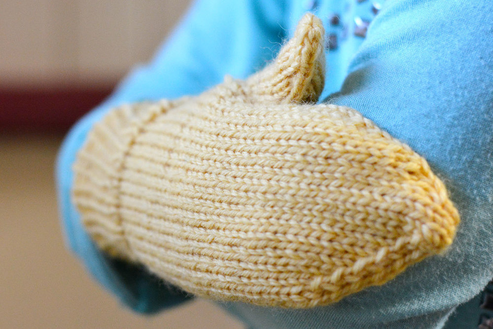 Just Plain Mittens in Aran weight, Toddler size