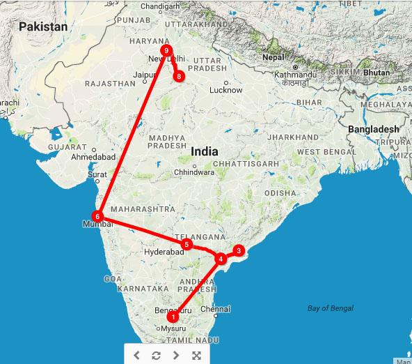 Point 8 is Agra, where we finally saw the Taj Mahal.