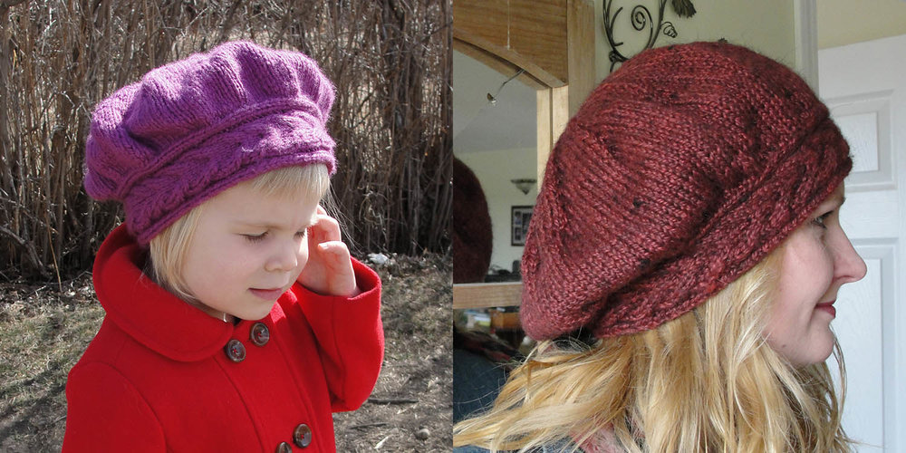 Although this is the same design, the different fibre content in the two yarns causee a different look between these two versions of the  Lucy Pevensie Tam .