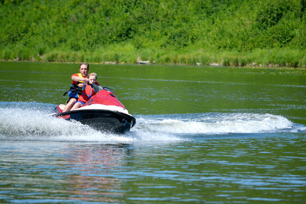 Showing the kiddo how to jetski.