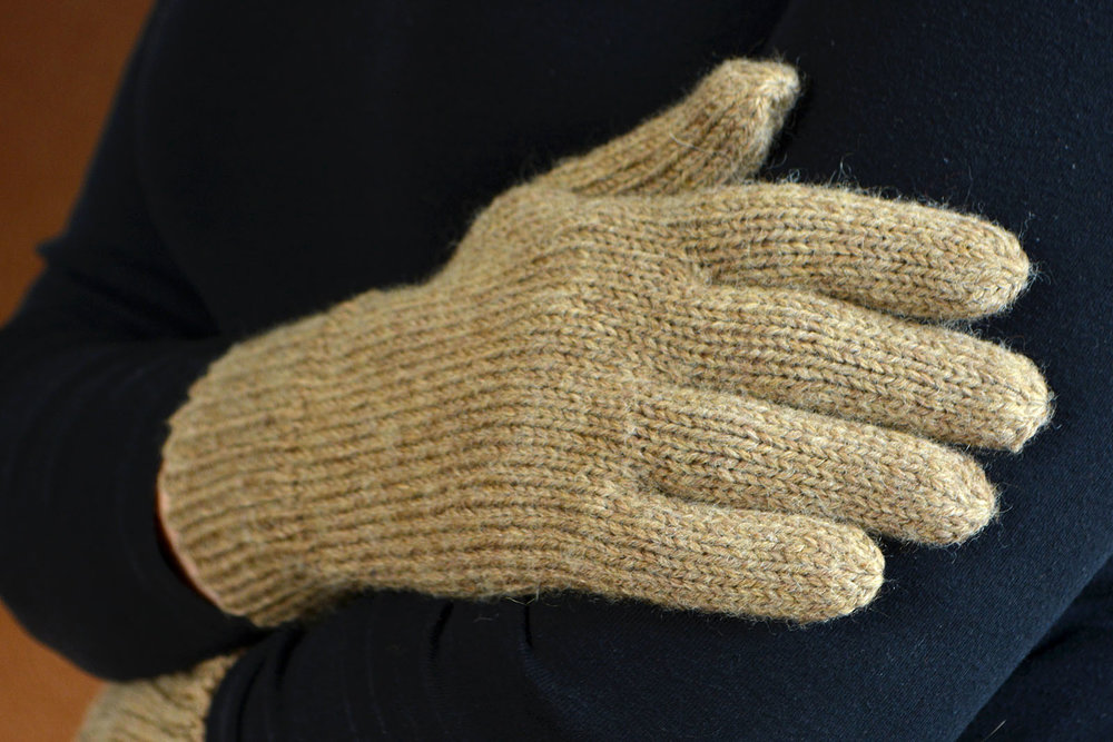 Aran/Heavy Worsted Weight Just Plain Gloves - 3 yarn weights, all hand sizes. Fingering-weight liner pattern included.