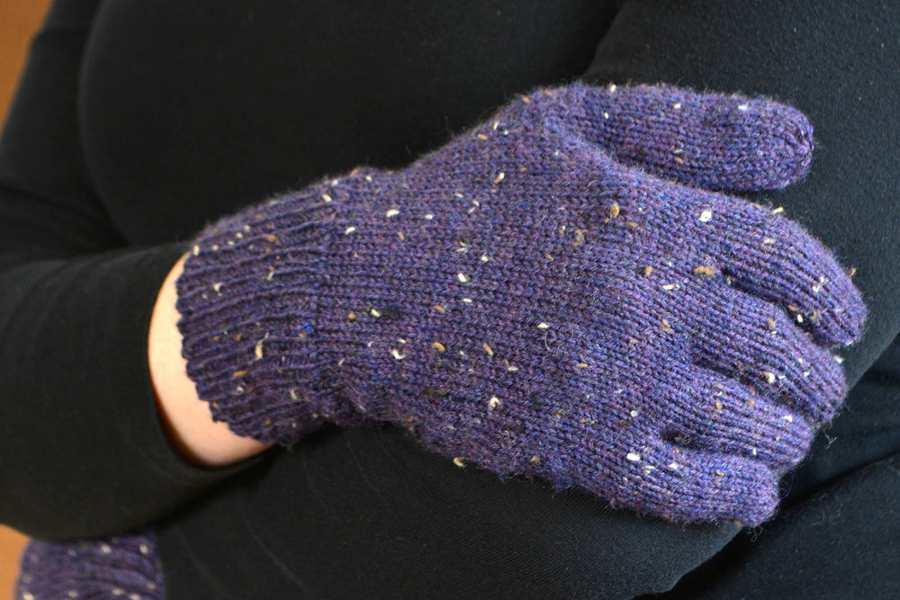 Fingering Weight Just Plain Gloves - 3 yarn weights, all hand sizes. Fingering-weight liner pattern included.