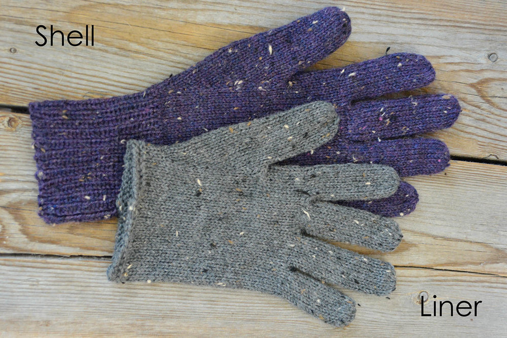 Fingering-weight shell and liner, Just Plain Gloves - 3 yarn weights, all hand sizes.