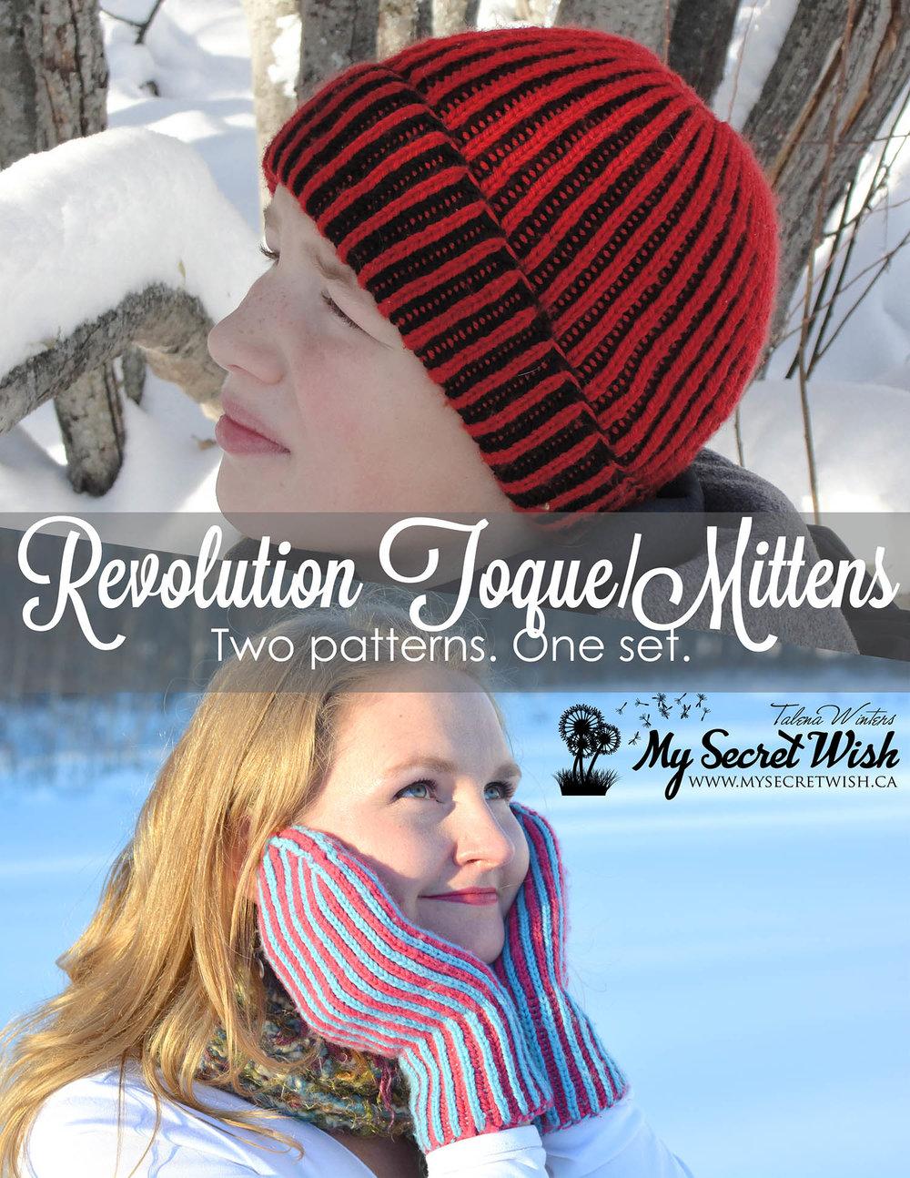 Revolution Toque and Mittens set - brioche knit pattern for beginners b023b8ea7ec