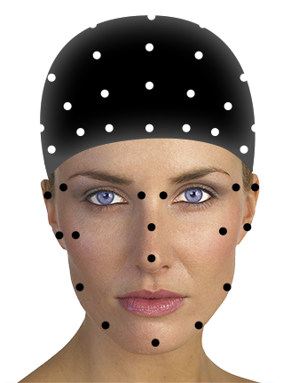 Motion capture beanie with contrasting markers and makeup