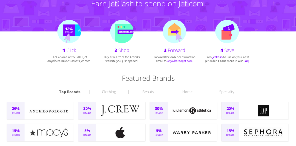 Jet Anywhere - cashback from affiliated retailers