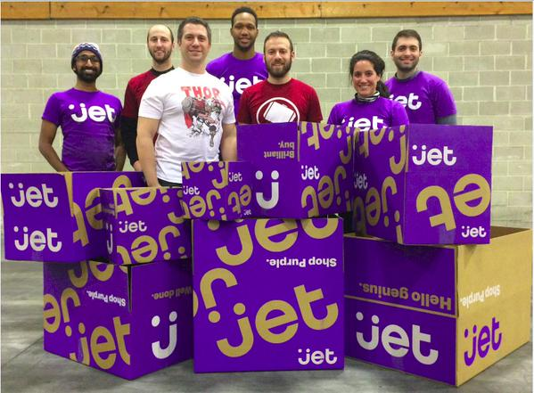 Jet employees & distinctive purple mailing boxes. Via @sarabsingh12 on Twitter