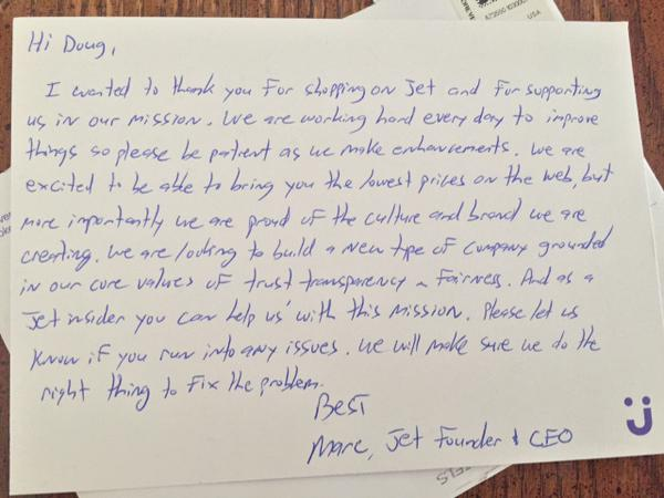 A handwritten note from the CEO of Jet to one of its first customers via @plusdoug on Twitter