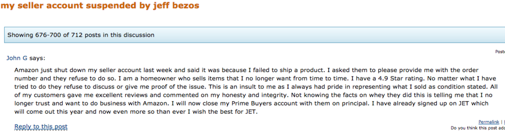 A forum post from an Amazon seller who claims to have their account shut down by Amazon because of a late shipment.