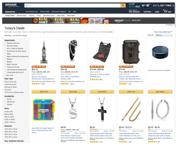 "Above: featured Deals on Amazon, including Lightning Deals which are known to customers as ""Gold Box Deals"". Customers can filter deals by category, % off, and other criteria."