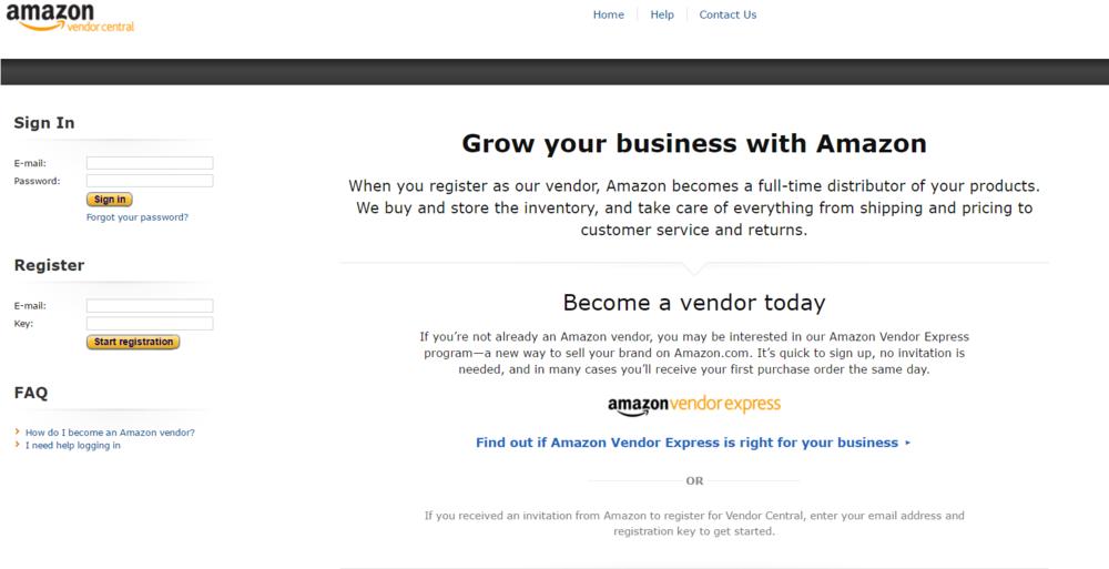 Above: Amazon Vendor Central Homepage