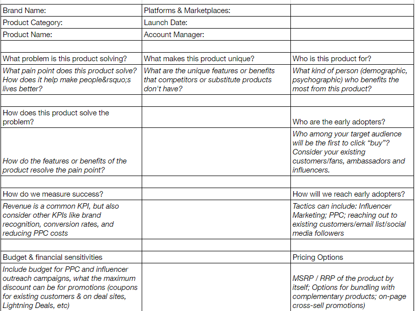 Above: Kiri Masters' modified Amazon Product Marketing Canvas