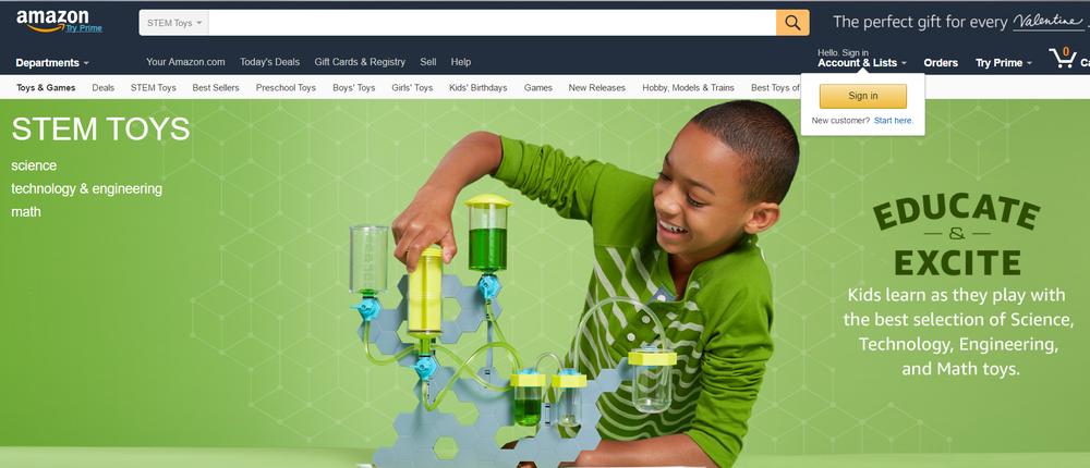 Amazon's Stem Toys Homepage