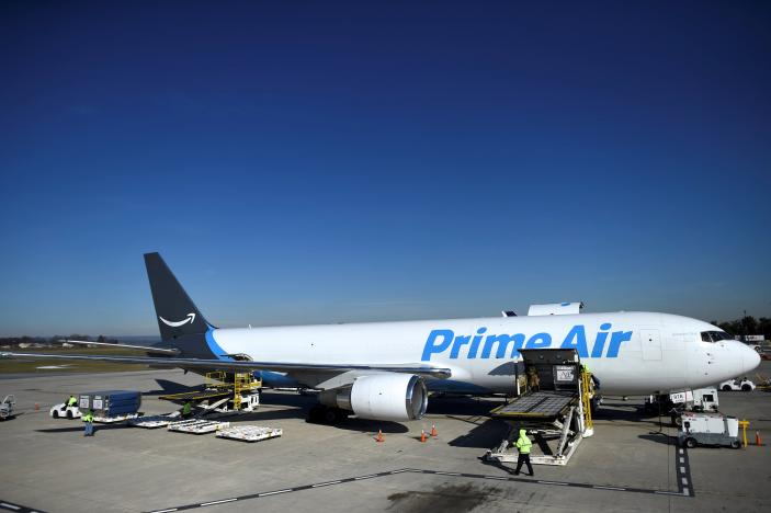 Aircraft with Amazon's Prime logo at Lehigh Valley International Airport in Allentown, Pennsylvania, Photo credit: REUTERS/Mark Makela