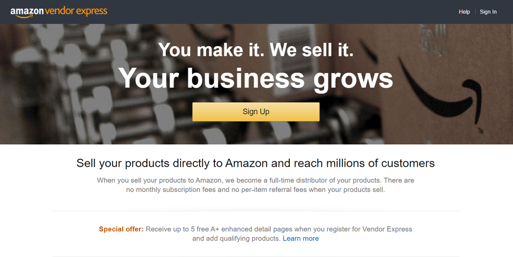 Amazon Vendor Express Homepage