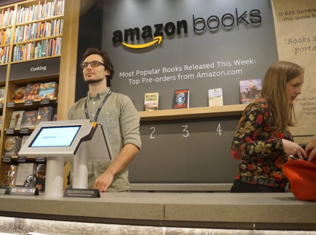 Amazon Books Counter (Photo Credit: GeekWire Photo, Jacob Demmitt)
