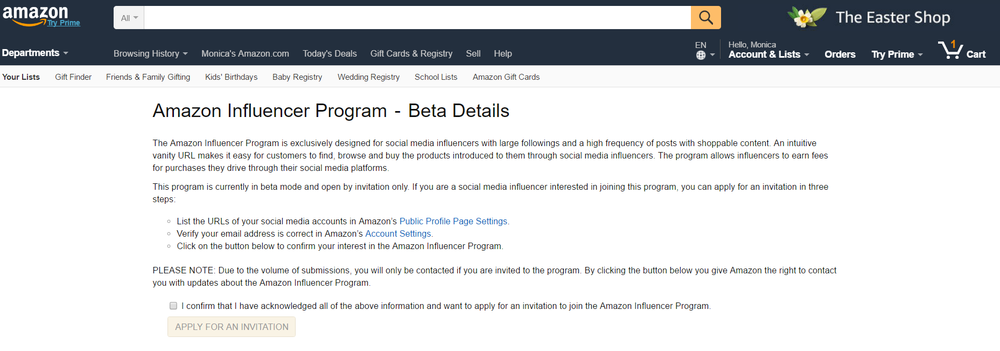 Amazon Influencer Program - learn more  here .