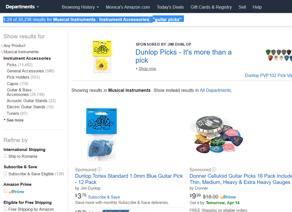 "There are 30,236 results for ""guitar picks"" on Amazon"