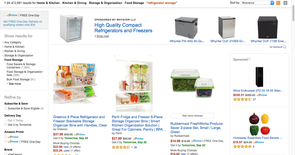 Above: Example of an AMS headline search ad for a brand of compact refrigerators & freezers.