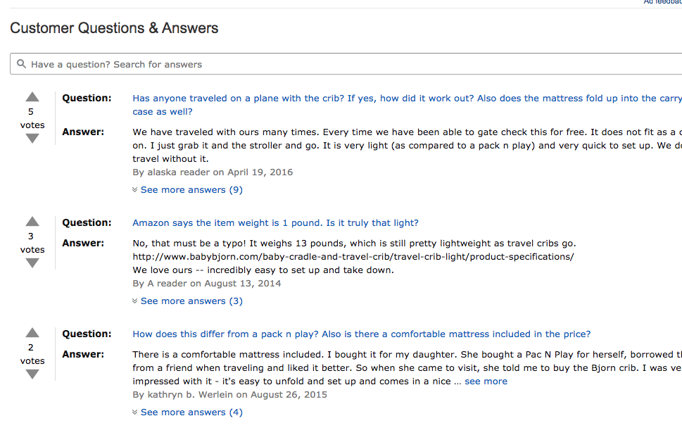 Image: Q&A section on an Amazon product detail page.